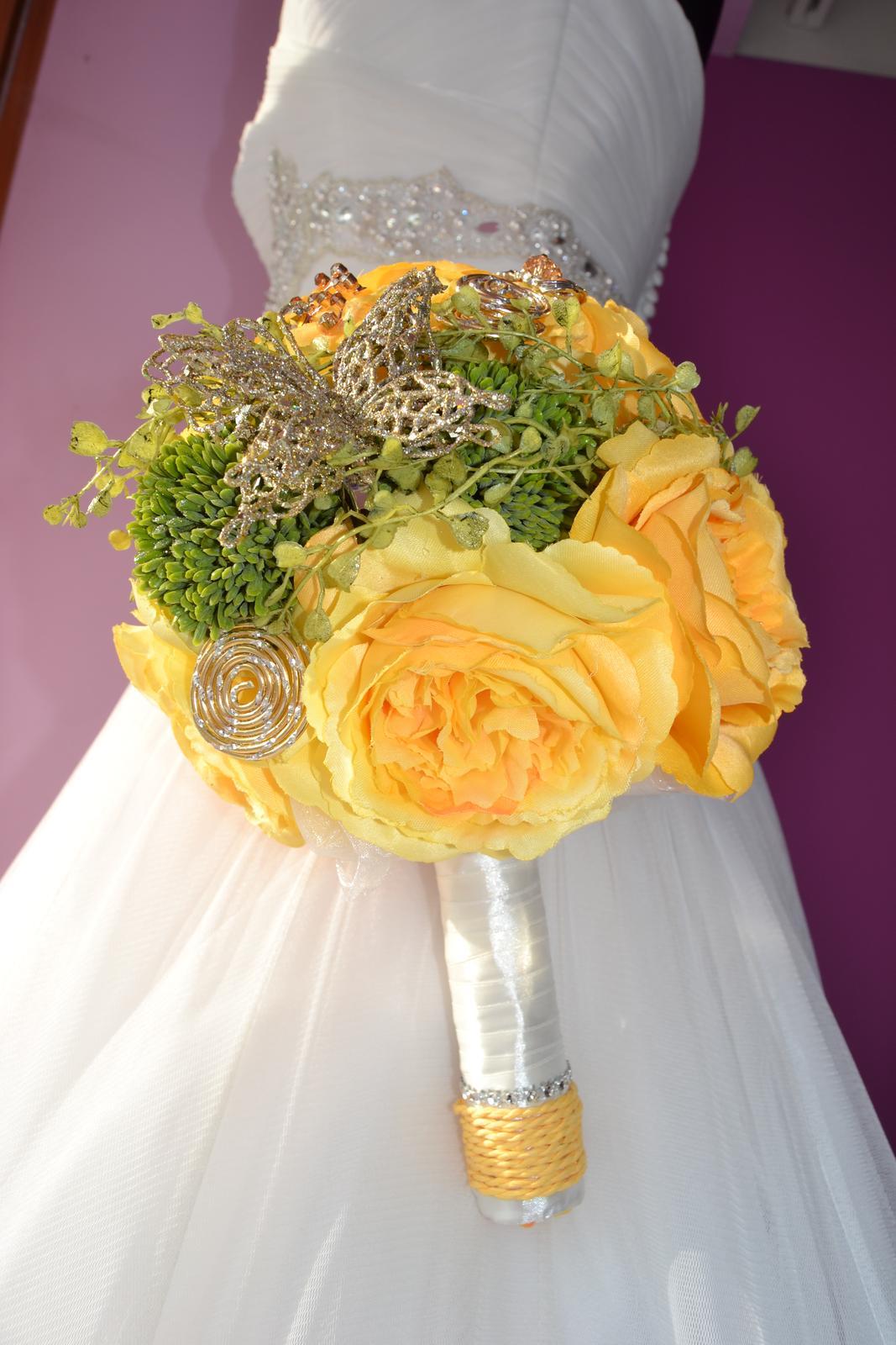 Látkové umělé svatební kytice-info - Obrázek č. 18