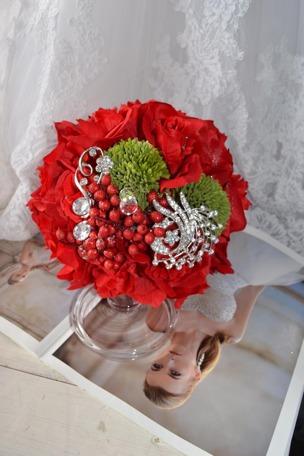 Látkové umělé svatební kytice-info - Obrázek č. 21