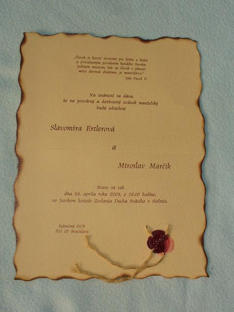 Slavomíra{{_AND_}}Miroslav - svadobné oznámenie-texty sme si vymysleli sami