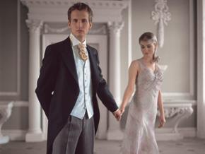 """Lubomira & Giles (9.9.2006) - Giles si uz objednal tento """"morning suit"""" ale kravata a vesta bude vo slabo-fialovej, ako nasa cela vyzdoba."""