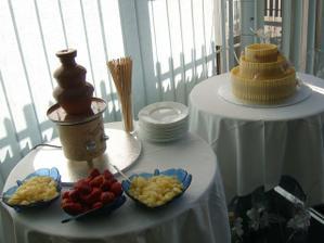 cokoladova fontana, svadobna torta