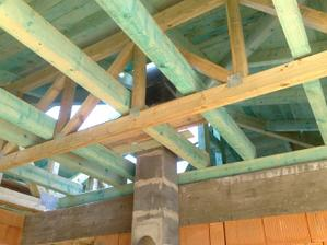 Takto vyzera nas krov vratane vaznikov nad obyvacou castou. Komplikovane, ale pekne.