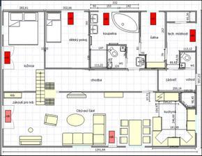 Plánek jsem dělala sama, jsou tam změny ( záchod v koupelně je i s bidetem a umývátkem),umyvadlo proti záchodu je nahrazeno skřínkou, záchod v zádveří je změněn na spíž, vchod do spíže je z chodbičky do technické místnosti), v kuchyni je spíž zrušena