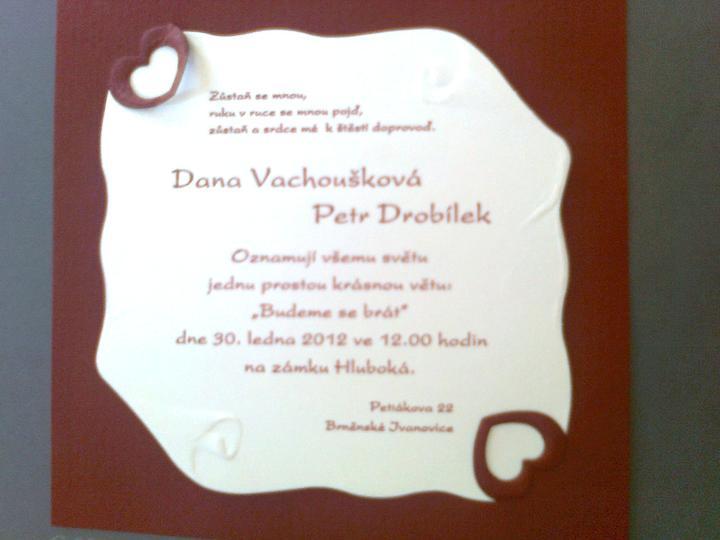Svatební přípravy , 3.9. 2011 - zámek Hořovice - Takovéto budeme mít oznámení