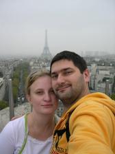 Vue sur la tour eiffel de l´arc de triomphe.