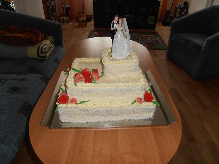 Amaterské fotky z naší svatby :-) - náš dort, jednoduchý, ač hezký...jsem moc ráda, že nám jedna známá udělala jako ozdoby karafiáty, protože má kytka byla taky z karafiátů...
