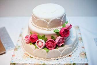 Skutočnosť - spojenie dvoch návrhov. Ďakujem šikovnej sestre. :-) Všetko (okrem podnosu) je na torte jedlé.