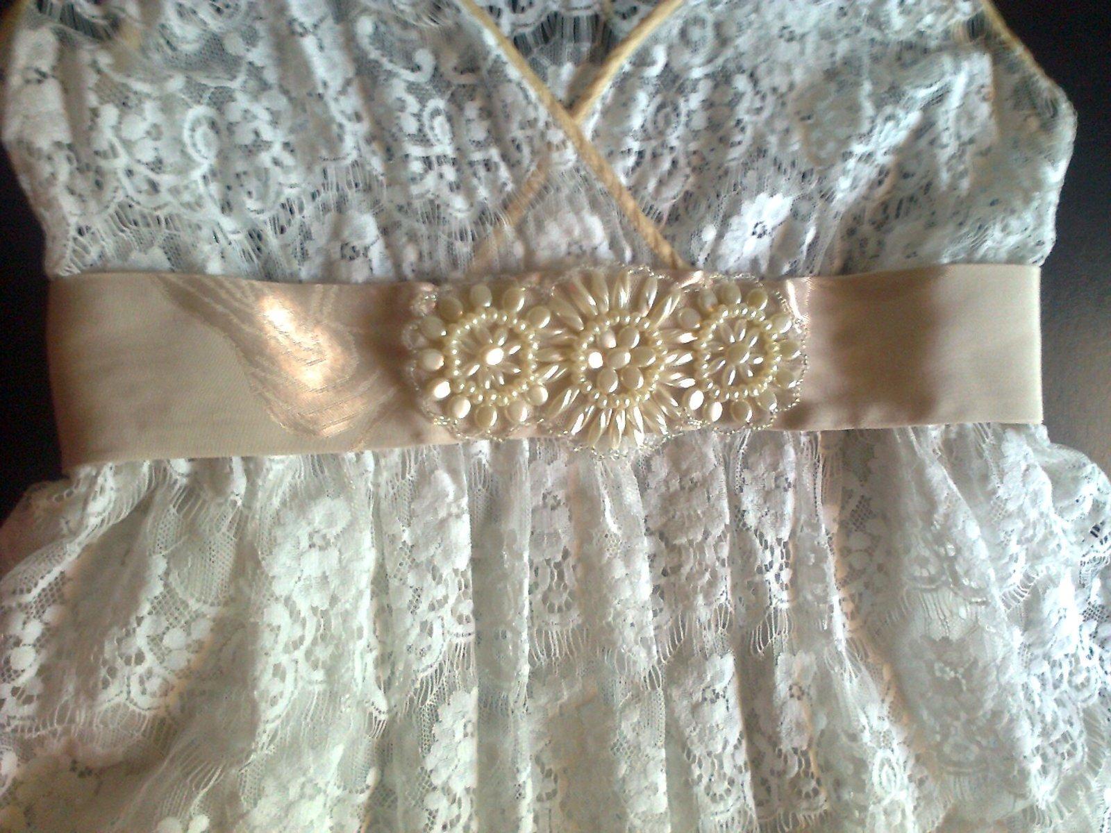 krémový opasok k šatám - Obrázok č. 1