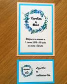 108 Svatební oznámení věneček modrý,