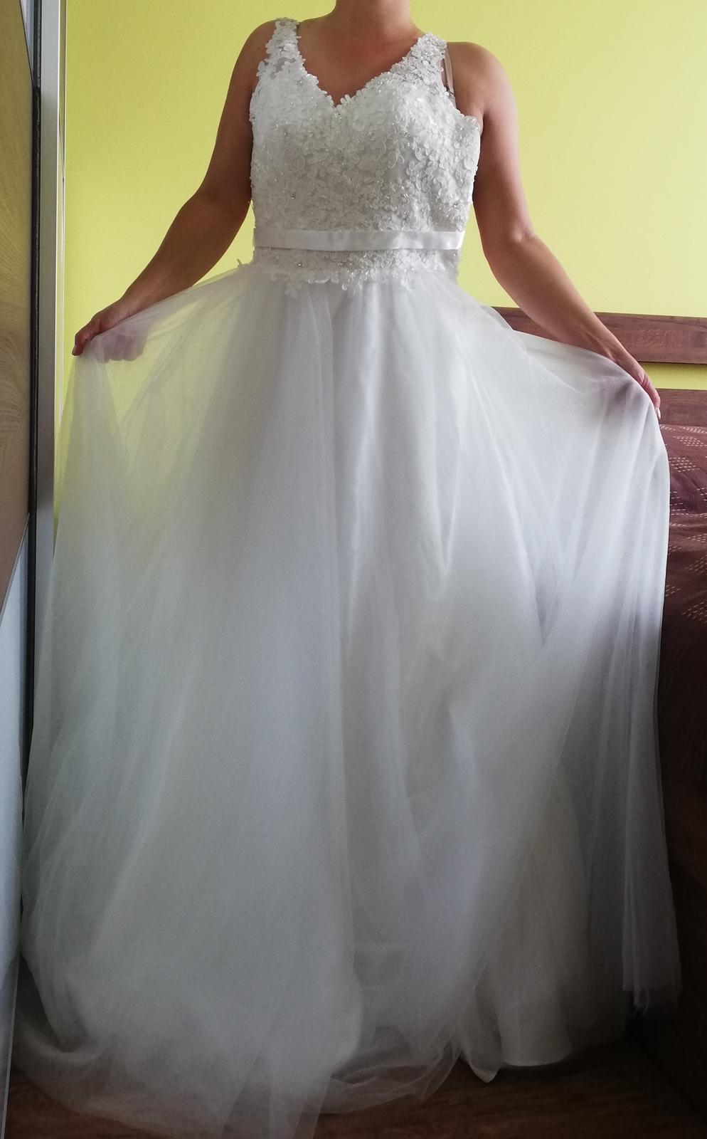 Nové Svatební šaty Luxuar Limited vel. 38 sedne taky vel.36 - Obrázek č. 2
