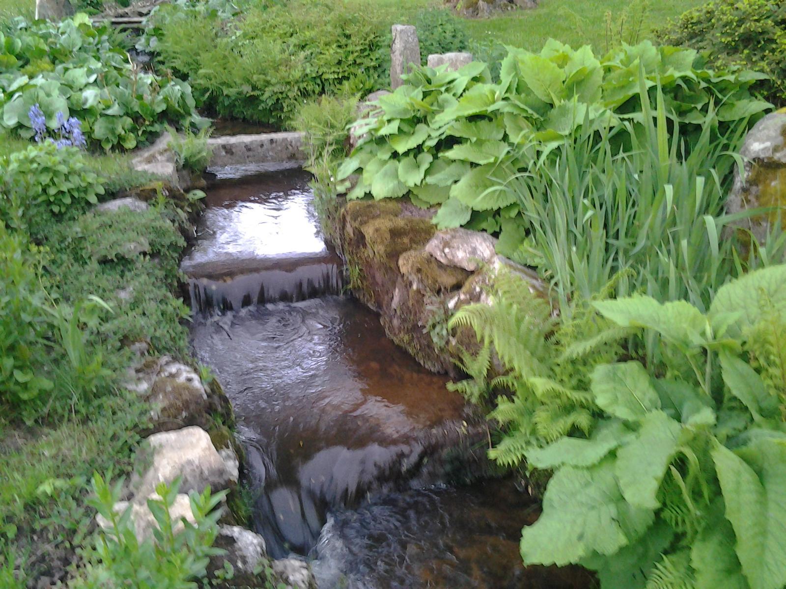 Jihočeská venkovská zahrada. - Celou zahradou nám protéká potok.