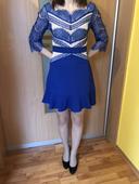 Modré zaujímavé šaty, 36