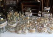 vázy/svícny ozdobené jutou a krajkou (25ks),