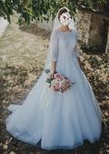Svadobné šaty z kvalitnej čipky + španielsky závoj, 38