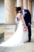 Luxusní svatební krajkové šaty s vlečkou, 37
