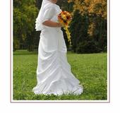 Svadobné biele šaty pre obdarené veľké prsia, 50