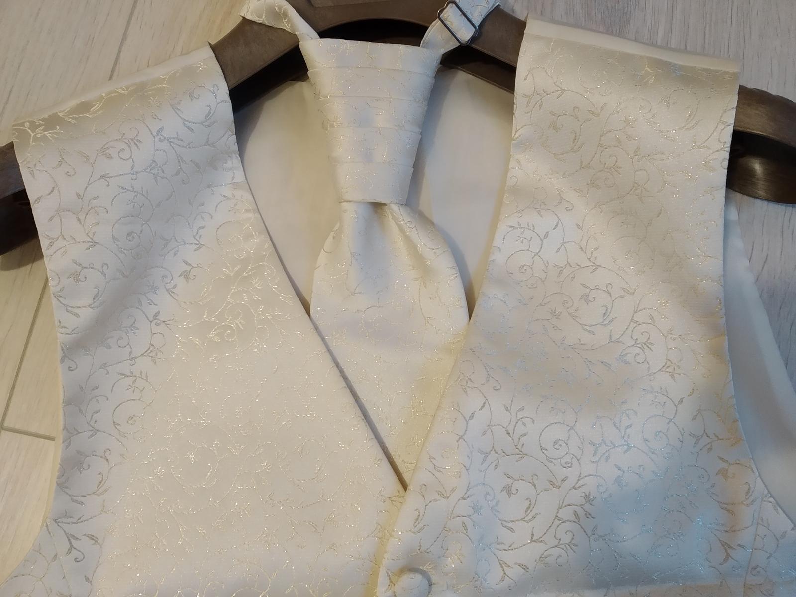 Svadobná vesta + kravata + vreckovka - Obrázok č. 1