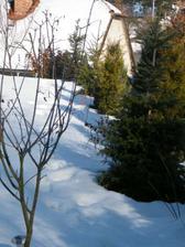 zahrada v zimě..jedna strana je v podstatě hotová, plná keřů, uvidíme na jaře, co se chytlo..