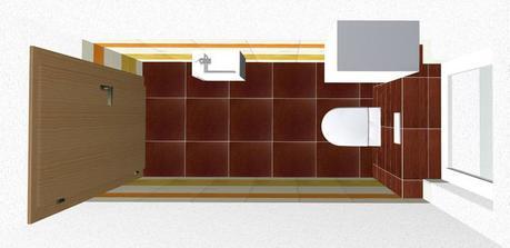wc pri kúpelke horný pohľad