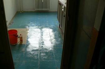 No, tak tohle je kuchyňská podlaha po strhání prapodivných pvc dlaždic v kuchyni. Jen pro informaci, ta podlaha není mokrá, to je lepidlo. A lepí kvalitně, málem mě vyzulo z bot.