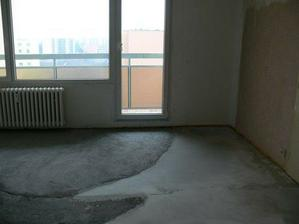 podlaha v obýváku v současnosti
