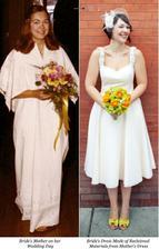 Recyklace, ze starých šatů po mamince, nové šaty pro dceru:-)