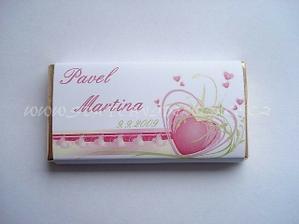 Svatební čokoládka pro hosty - již objednány (akorát jména budou jiné)