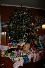 Náš stromák,bez kousku 3m,musel se zkrátit,ať ho tam nacpem :)))))