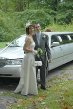 With bride's limo