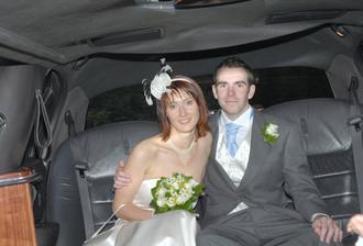 Inside groom's limo