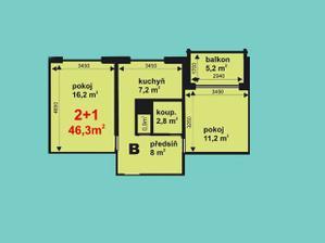 Půldorys bytu, akorát my máme větší pokoj = obývák napravo a ložnici nalevo. A místo balkonu terasu o výměře 55m2 :o).