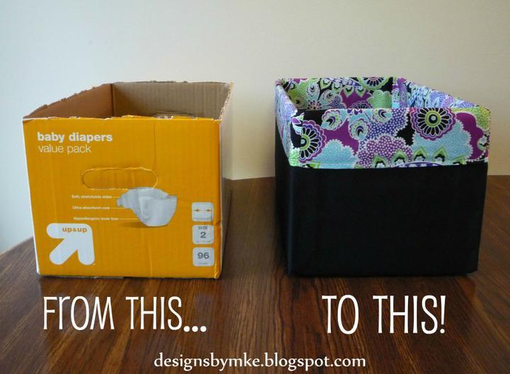 PredDVEREza - na chodbe - v šatníku - navod: http://designsbymke.blogspot.sk/2012/01/lined-canvas-diaper-box.html
