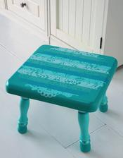 http://modpodgerocksblog.com/2010/09/doily-design-as-resist-stool.html