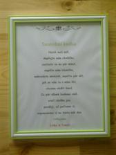 rámeček s popisem ke svatební knize, aby svatebčané věděli, k čemu kniha slouží :-) tentýž bude na soupis tomboly. Asi ještě lehce dodekoruju...uvidím :-)