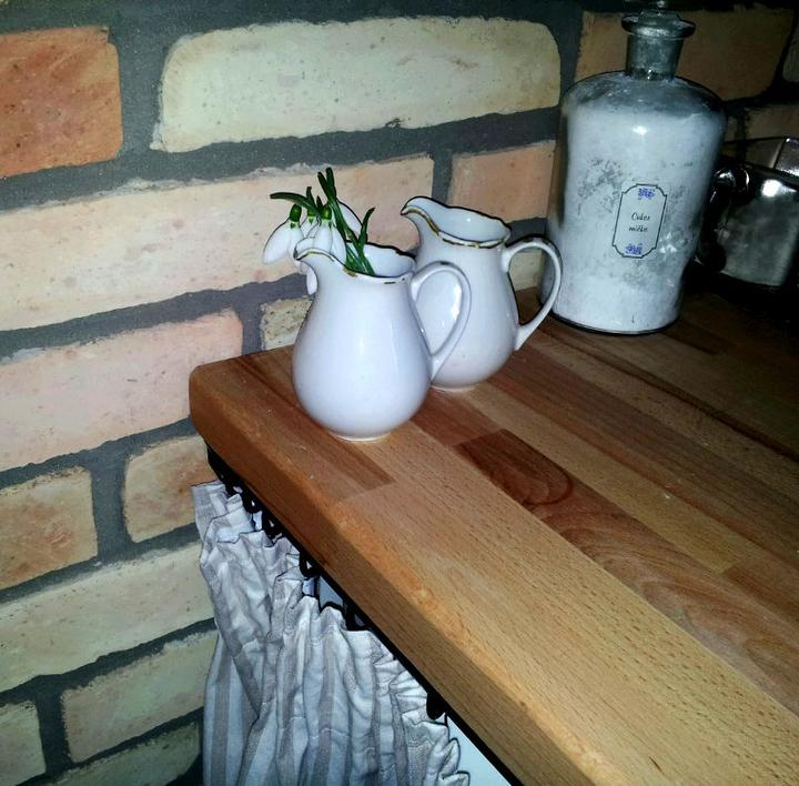 ...januárové snežienky v našej novej kuchyni.....