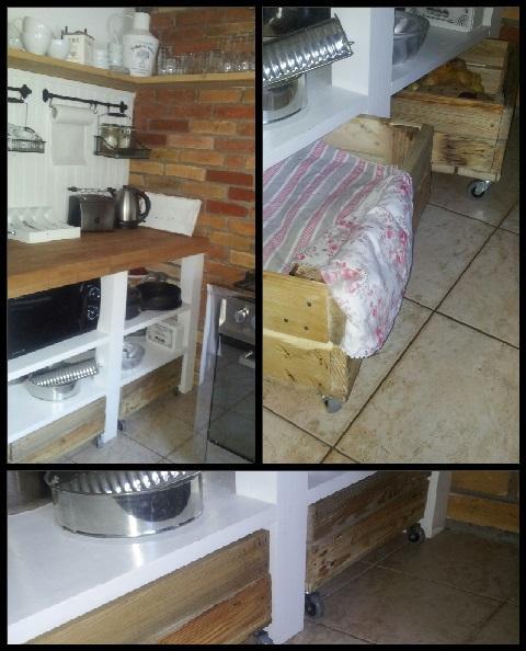 ...úložné boxy na kolieskach...vyrobené z paliet...