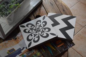 ...recyklovala som...staré panelákové cementové dlaždice :-)