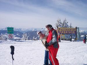 My dvaja na lyžovačke v Alpách