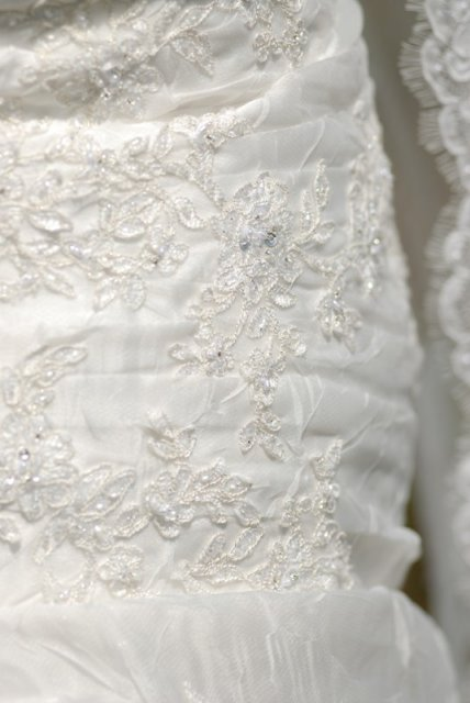 Tina a Peco - Pronovias leman 2007 -detail výšivky, sú krásne, pekne sa ligocú