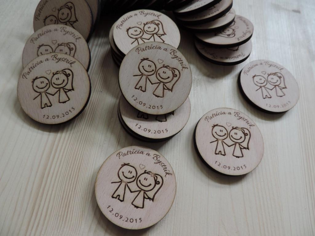 Drevené svadobné magnetky - Obrázok č. 3