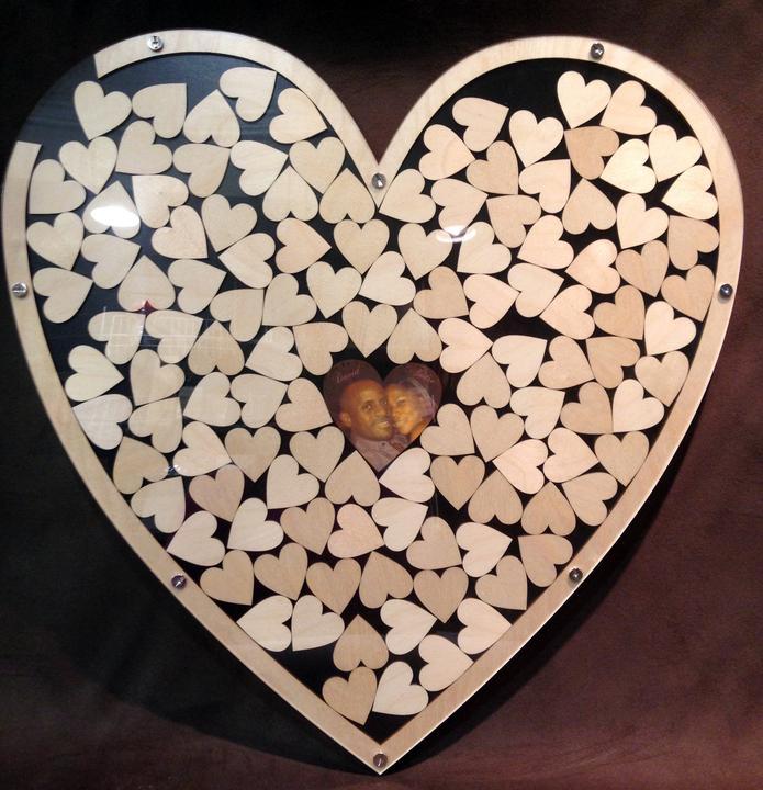Svadobné srdce na vhadzovanie srdiečok s podpismi  - Obrázok č. 1
