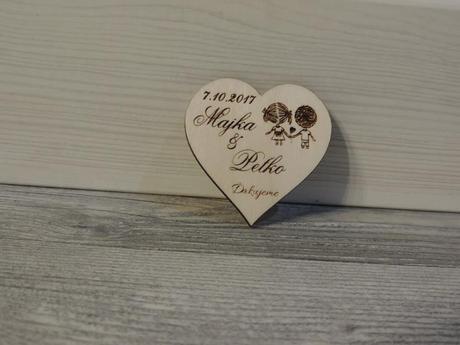 Drevené svadobné magnetky - Obrázok č. 1