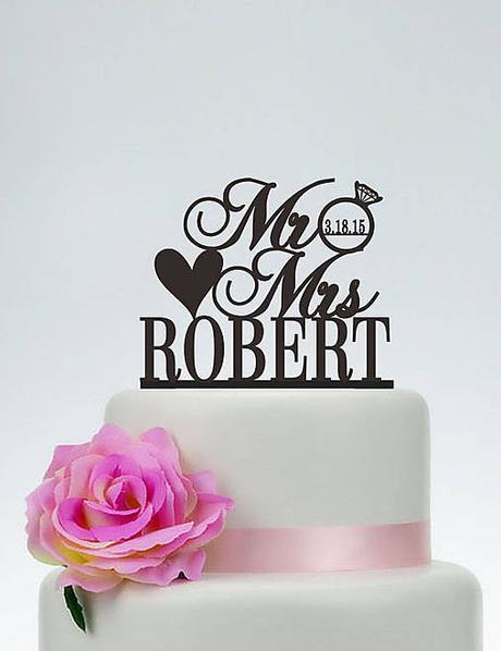 Zápich na tortu s prsteňom a dátumom - Obrázok č. 1