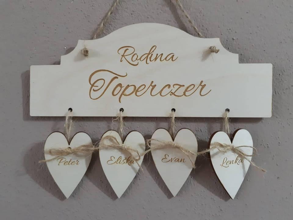 Tabuľka na dvere so srdiečkami a menami  - Obrázok č. 1