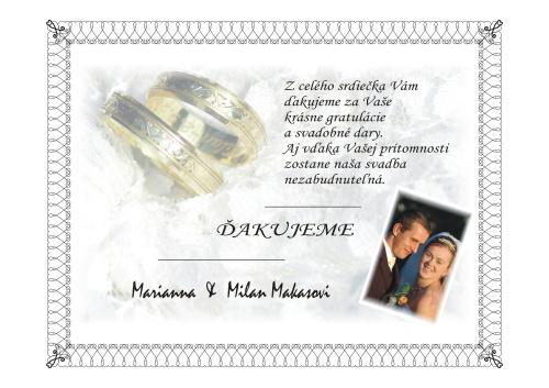 Marianna Drestová{{_AND_}}Milan Makas - Takéto ďakovné listy sme rozdávali po svadbe svadobčanom a známym