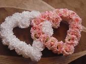 Ružovo biele veľké dvojsrdce s prísavkami,
