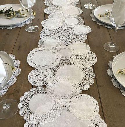 Plánovací diár - ako dekoraciu na stoly pouzijem papierove podlozky krajkovane nastriekane namodro
