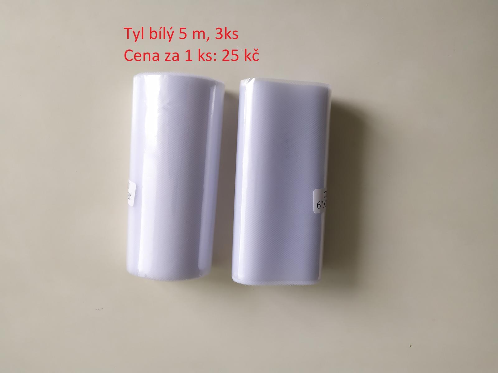 3x Tyl bílý (š 15cm, délka 5m) - Obrázek č. 1