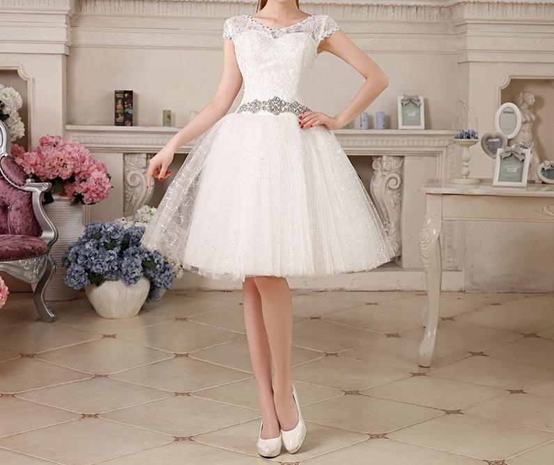 Krátke svadobné/popolnočné šaty - 7 veľkostí - Obrázok č. 1