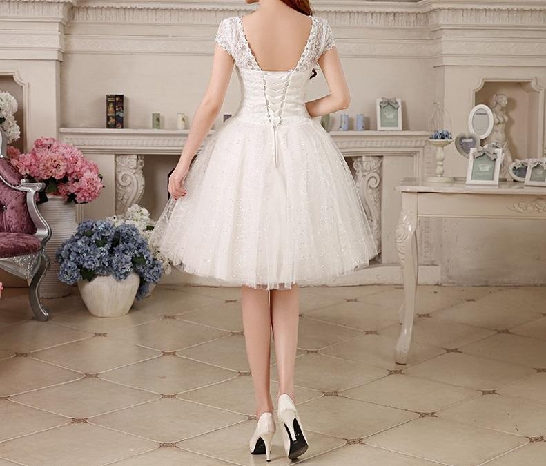 Krátke svadobné/popolnočné šaty - 7 veľkostí - Obrázok č. 3
